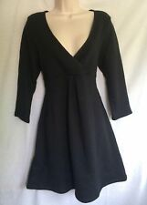 Black V-neck 3/4 Sleeve A-line Tunic Dress Size S