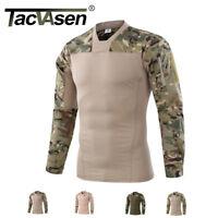 TACVASEN Mens V-neck Army Military Shirts Tactical Combat Shirt Pockets T-Shirt