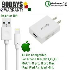 3,6,10 ft USB Cable + 18W  Cube Wall Charger For Apple iPad 4th 5th 6th Air, [Q2