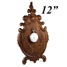 "Fine 19th c. Antique 12"" Tall Hand Carved French Pocket Watch Stand, Holder"