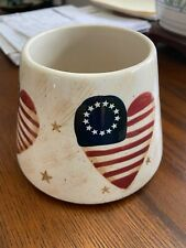 Home Interiors Patriotic American USA Flag Heart Jar Candle Shade Topper Ceramic