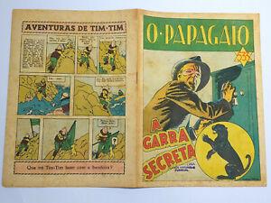 RARE 1945 TINTIN First Color Appearance O PAPAGAIO BD Portuguese Magazine #533