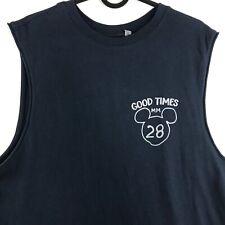 Junk Food Disney Mens Size Medium Sleeveless Tee Navy Shirt Blue Mickey Mouse