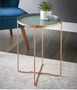 Stunning Round Sage Deco Glam Side Table Serve Snack & Drinks Coffee Side Table