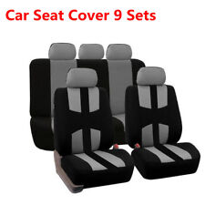 Grey+Black Breathable Front Rear Car Seat Covers Chair Cover Bird Eye Cloth+Hook