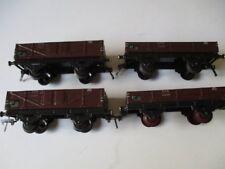 4 x FLEISCHMANN Spur 0 Blech Eisenbahn ungedeckte Güterwagen rot