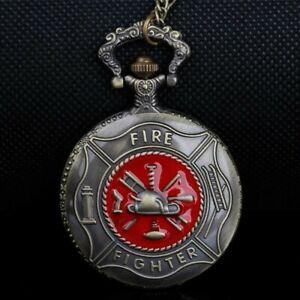 Steampunk Rot Feuer Kämpfer Taschenuhr Feuerwehrmann Quarz Uhren