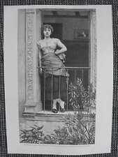 """""""Rose der Provence"""" junge Same auf Balkon HOLZSTICH von 1889 Calderon Gemälde"""