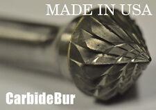 "BRAND NEW 1/4"" Cone 90 Degree Carbide Bur Tool Bit Die Grinder USA SK-5 DOUBLE"