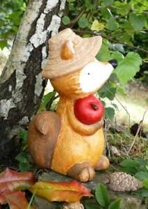 Figur Fuchs mit Apfel Hut Dekofigur Gartendeko Balkon Deko Garten Herbst