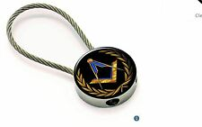 Chrome Metal Masonic Key ring with spun metal wire chain with Square & Compass