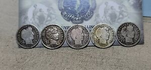 Lot of 5 Barber Dimes 10c 1892 P, 1893 P, 1897 S, 1898 O & 1899 P Cleaned/Damage