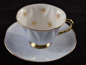 Rare Shelley Pale Blue Dainty 'Snowflakes' Gold Footed Teacup & Saucer 13943
