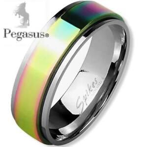 Stress, Anxiety, Quit Smoking Rainbow Titanium Spinner Spinning Unisex Ring