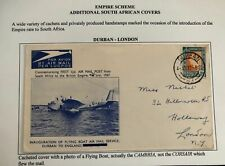 1937 Durban South Africa Airmail Cover FFC To London England Empire Scheme