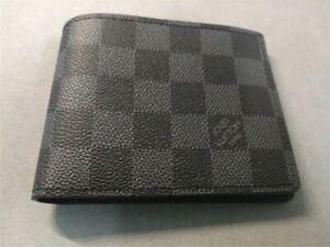 Authentic Louis Vuitton Mens Damier Graphite Slender Wallet w/Box