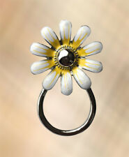 NEW Pretty White & Yellow Flower Eye Glasses Spectacle Hanger Brooch Pin Holder