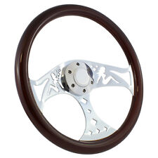 "15"" Chrome Trucker Mudflap Girl Wood Steering Wheel and Horn Button Set"