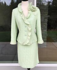 Rickie Freeman for Teri Jon Womens 2 Piece Skirt Suit Mint Green Tweed Size 12
