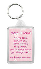 BEST FRIEND Keyring Keyfob Poem Novelty Birthday Christmas Gift Keepsake