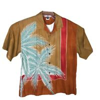 Mens Tommy Bahama 100% Silk Hawaiian Camp button Shirt Size XL Short Sleeve