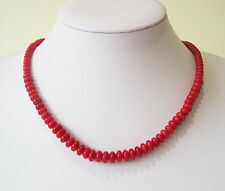 "Beautiful Natural Red Coral Beaded Necklace 19""/48cm"