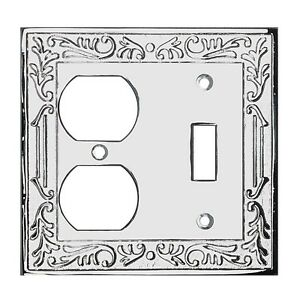 Victorian Switch Plate Double Outlet Chrome Solid Brass | Renovator's Supply