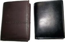 Lot of 2 New Trifold Leather Man's wallet 2 ID 2 billfold Black 6 card wallet BN