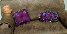 Dollhouse Miniature Purple Beaded Pillows - One Inch Scale (1:12)  Handmade OOAK