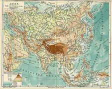 ASIEN Höhenprofil Flüsse physikalische KARTE von 1897