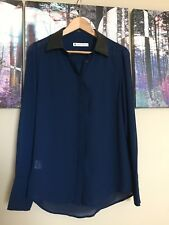 House of Harlow 1960 Blue Blouse Shirt Faux Leather Collar UK 12/14 US10/12 (A8)