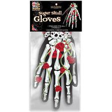 Sugar Skull Tattoo Gloves with Bones & Roses