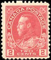 1917-22 Canada Mint NH  2c F+ Scott #106 KGV Admiral Issue Stamp