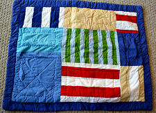 DYR QUILTED PILLOW SHAM PATCHWORK Bold Colors Stripes Blue Red White Grn COT. 25