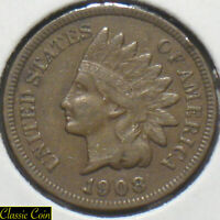 1908-S Indian Head Cent 1c XF Penny Copper Key Date