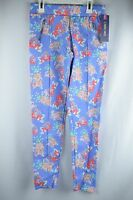 NEW Cherokee Girl's Blue Floral Mid Rise Fashion Pants, Free Shipping