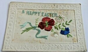"""UNPOSTED  WW 1 SILK POSTCARD """" A HAPPY EASTER """""""