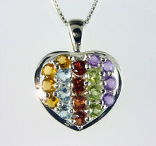 Pavee Heart Multicolor Pendant 18- 3.0MM round stones. 1 inch .925 SS Silver