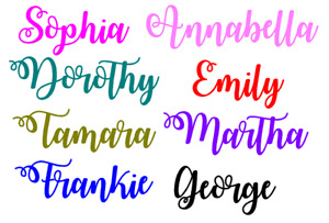 2 x Personalised Name/word Vinyl Sticker For glass, water bottle up to 9 cm