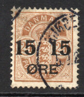 Denmark 15 Ore on 24 Ore Stamp c1904-12 Used (4840)