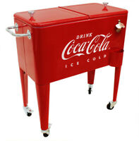 Coca Cola Cooler Ice Chest Retro Red 60 Qt. Rolling Wheels Bottle Opener Classic