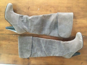 Womens Suede KNEE HIGH BOOTS in TAUPE  Fold Over Cuff HIGH HEEL Size 6