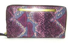 Fossil RFID Liza Zip Around Clutch Wallet Python Snake Leather Wine Purple NWT