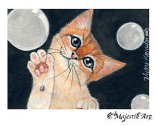 "Ginger Cat, Animal Original ACEO ATC ""Bubbles"" By V Kenworthy"