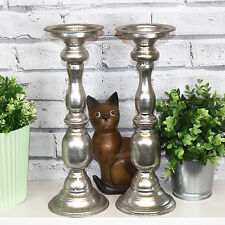 Set of 2 35cm Metal Pillar Candle Holder Candlesticks Church Holders Sticks Home
