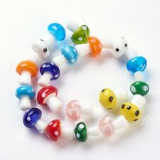 100 pcs Handmade Lampwork Mushroom Beads Mixed Color Crafts 19x14.5mm Hole 2mm