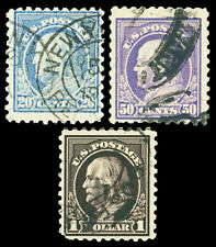 Scott 476,477,478 1916 20c to $1.00 Franklin Perforated 10 Issues Used Cat $125
