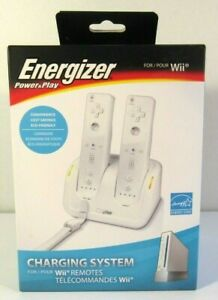 Energizer 2X Power & Play Charging System for Wii Controller Remotes White New