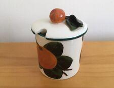 More details for wemyss ware griselda hill pottery orange design small lidded jam pot