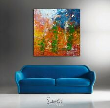 Extra large wall art colorful abstract oil painting on canvas. Swarez original